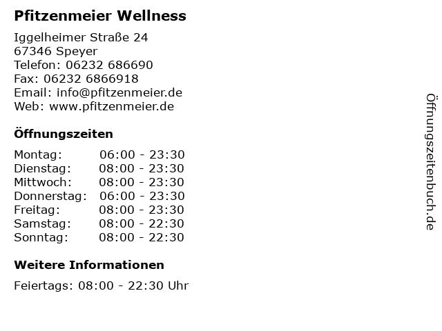Pfitzenmeier Wellness in Speyer: Adresse und Öffnungszeiten