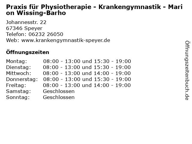 Praxis für Physiotherapie - Krankengymnastik - Marion Wissing-Barho in Speyer: Adresse und Öffnungszeiten