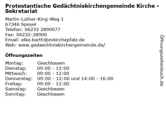Protestantische Gedächtniskirchengemeinde Kirche in Speyer: Adresse und Öffnungszeiten