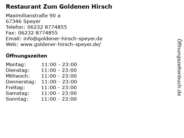 Goldener Hirsch in Speyer: Adresse und Öffnungszeiten