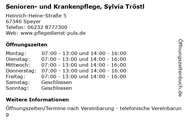 Senioren- und Krankenpflege, Sylvia Tröstl in Speyer: Adresse und Öffnungszeiten