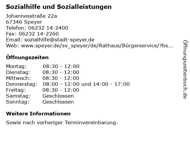 Sozialhilfe und Sozialleistungen in Speyer: Adresse und Öffnungszeiten