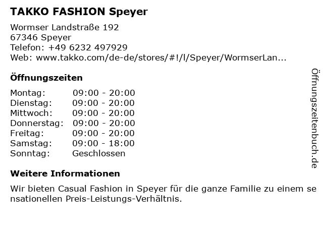 Takko Fashion in Speyer: Adresse und Öffnungszeiten