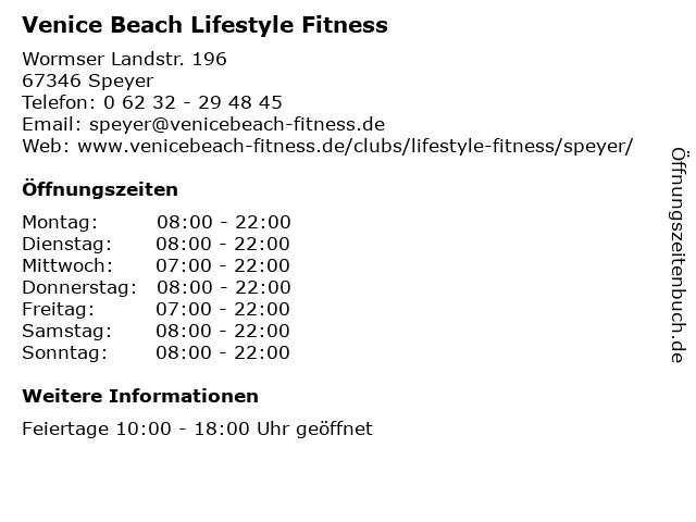Venice Beach Lifestyle Fitness in Speyer: Adresse und Öffnungszeiten