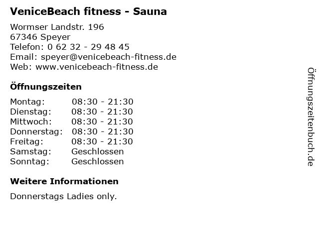 VeniceBeach fitness - Sauna in Speyer: Adresse und Öffnungszeiten