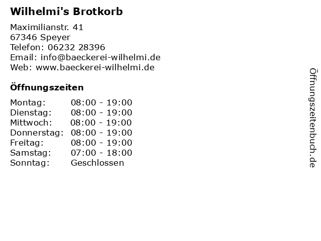 Wilhelmi's Brotkorb in Speyer: Adresse und Öffnungszeiten