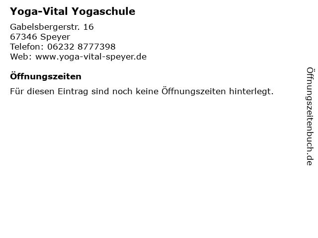 Yoga-Vital Yogaschule in Speyer: Adresse und Öffnungszeiten