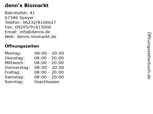 denn's Biomarkt in Speyer: Adresse und Öffnungszeiten