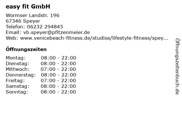 easy fit GmbH in Speyer: Adresse und Öffnungszeiten