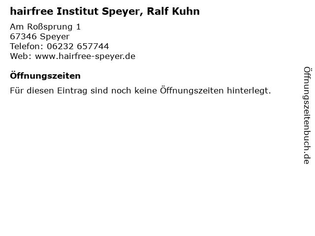 hairfree Institut Speyer, Ralf Kuhn in Speyer: Adresse und Öffnungszeiten
