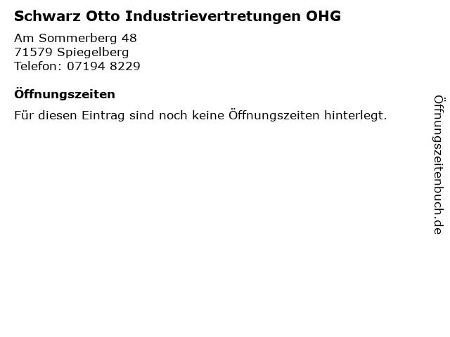 Schwarz Otto Industrievertretungen OHG in Spiegelberg: Adresse und Öffnungszeiten