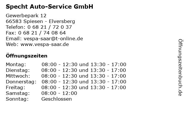 Specht Auto-Service GmbH in Spiesen - Elversberg: Adresse und Öffnungszeiten