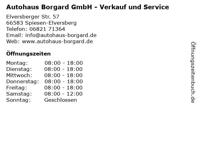 Autohaus Borgard GmbH - Verkauf und Service in Spiesen-Elversberg: Adresse und Öffnungszeiten