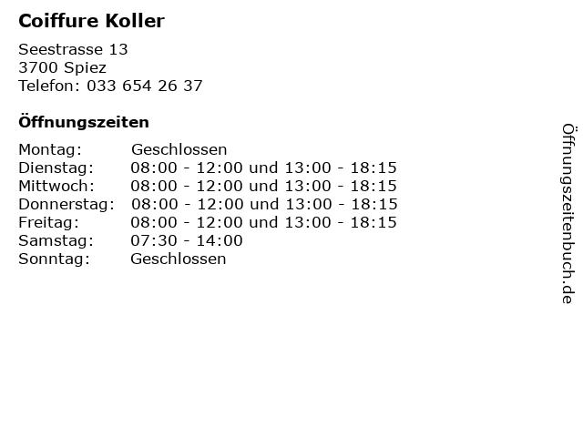 Coiffure Koller in Spiez: Adresse und Öffnungszeiten