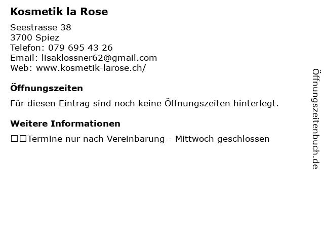 Kosmetik la Rose in Spiez: Adresse und Öffnungszeiten