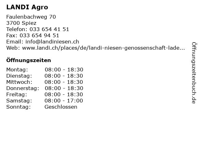 LANDI Agro in Spiez: Adresse und Öffnungszeiten