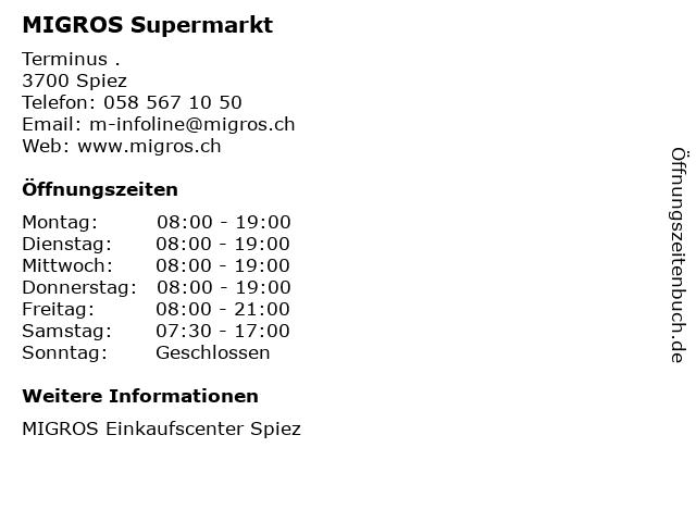 MIGROS Supermarkt in Spiez: Adresse und Öffnungszeiten