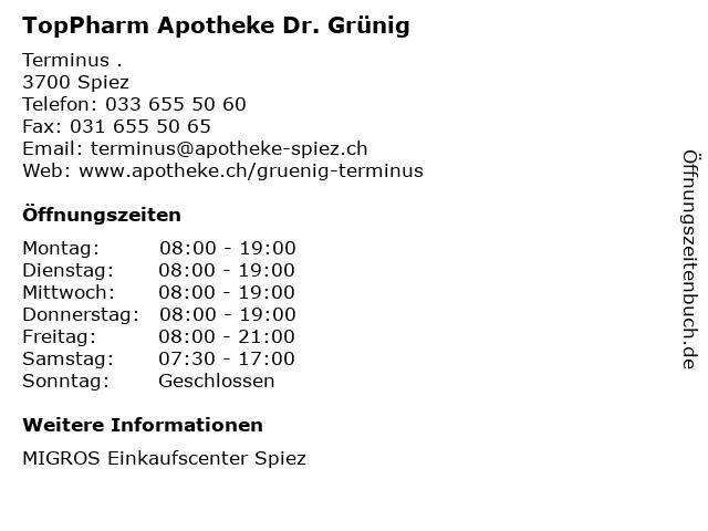 TopPharm Apotheke Dr. Grünig in Spiez: Adresse und Öffnungszeiten