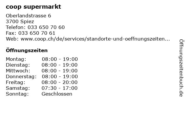 coop supermarkt in Spiez: Adresse und Öffnungszeiten