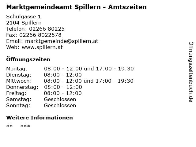 Marktgemeindeamt Spillern - Amtszeiten in Spillern: Adresse und Öffnungszeiten