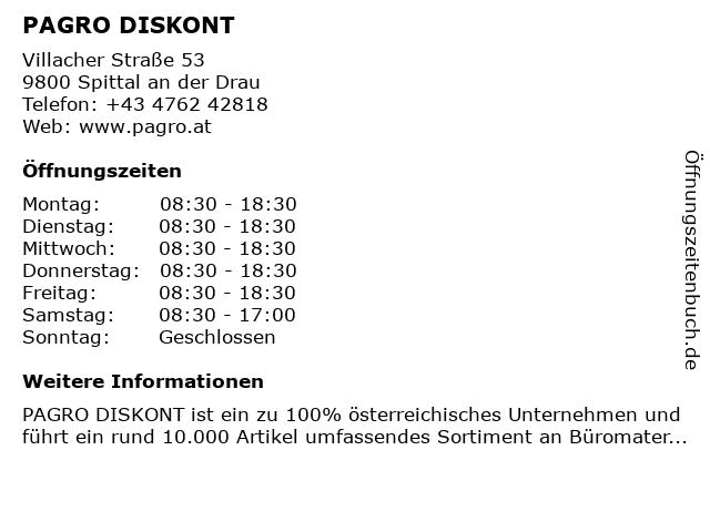 PAGRO DISKONT - PAGRO Handelsgesellschaft mbH in Spittal: Adresse und Öffnungszeiten