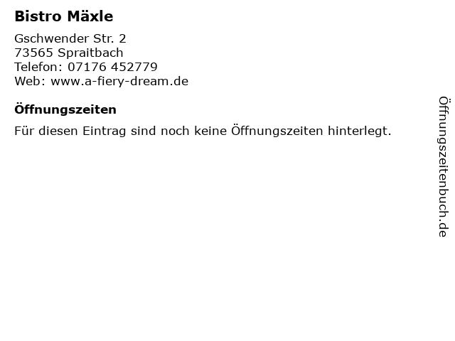 Bistro Mäxle in Spraitbach: Adresse und Öffnungszeiten