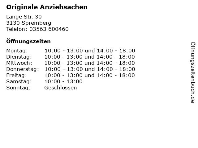 Originale Anziehsachen in Spremberg: Adresse und Öffnungszeiten