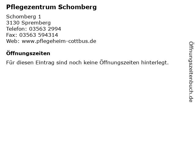 Pflegezentrum Schomberg in Spremberg: Adresse und Öffnungszeiten