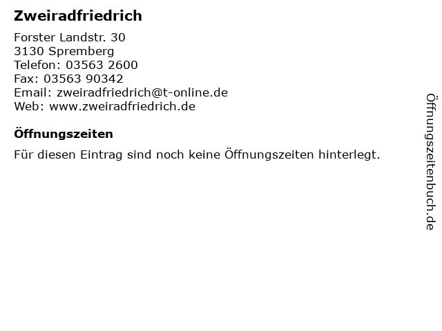 Zweiradfriedrich in Spremberg: Adresse und Öffnungszeiten