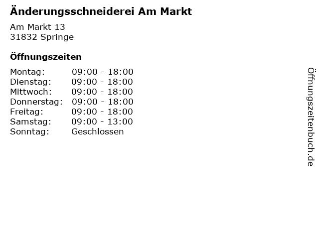 Änderungsschneiderei Am Markt in Springe: Adresse und Öffnungszeiten