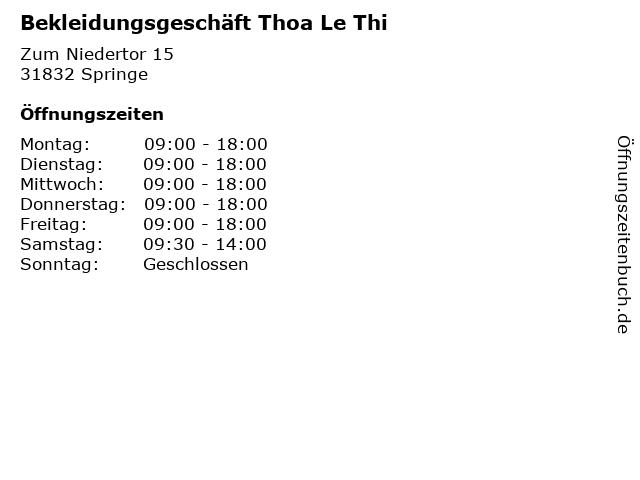 Bekleidungsgeschäft Thoa Le Thi in Springe: Adresse und Öffnungszeiten