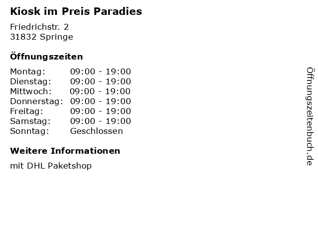 Kiosk im Preis Paradies in Springe: Adresse und Öffnungszeiten