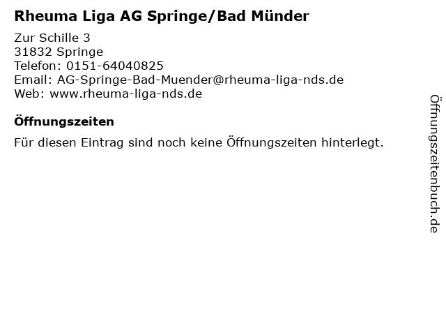 Rheuma Liga AG Springe/Bad Münder in Springe: Adresse und Öffnungszeiten