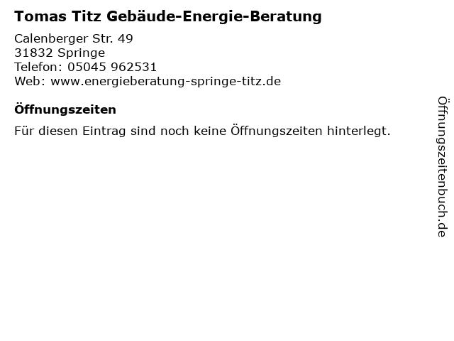 Tomas Titz Gebäude-Energie-Beratung in Springe: Adresse und Öffnungszeiten