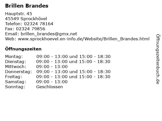 Brillen Brandes in Sprockhövel: Adresse und Öffnungszeiten