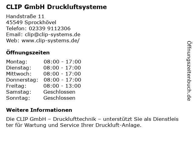 CLIP GmbH Drucklufttechnik - Bürozeiten in Sprockhövel: Adresse und Öffnungszeiten