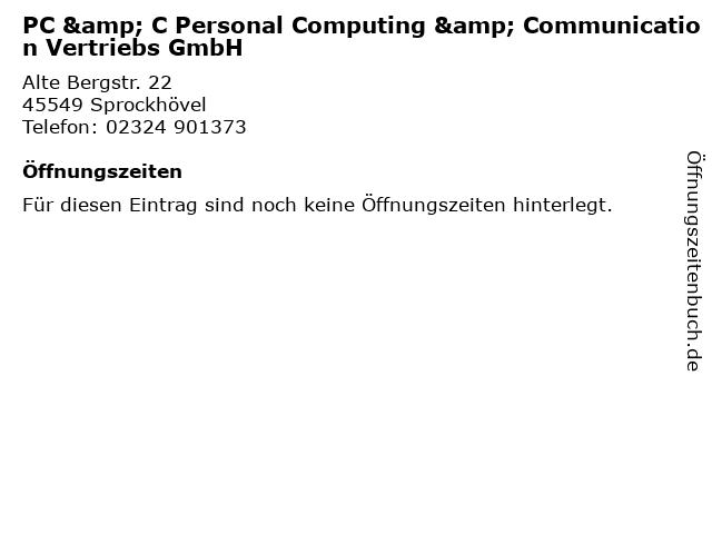 PC & C Personal Computing & Communication Vertriebs GmbH in Sprockhövel: Adresse und Öffnungszeiten