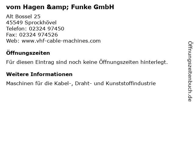 vom Hagen & Funke GmbH in Sprockhövel: Adresse und Öffnungszeiten