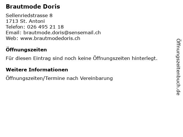 Brautmode Doris in St. Antoni: Adresse und Öffnungszeiten