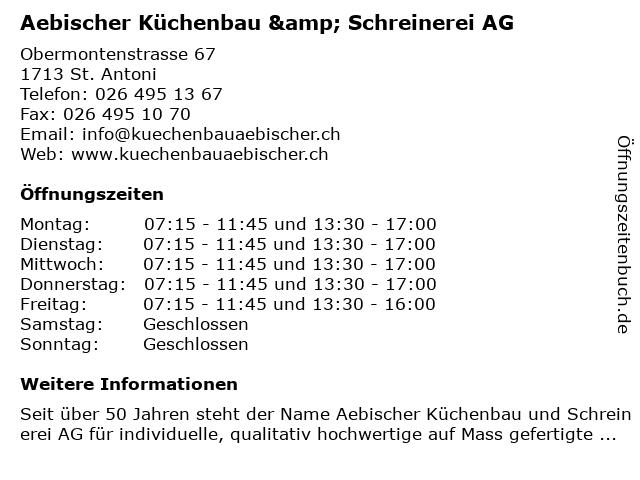 Bruno Aebischer in St. Antoni: Adresse und Öffnungszeiten