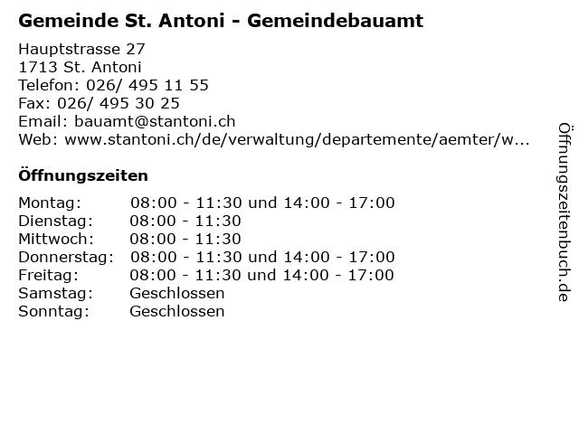 Gemeinde St. Antoni - Gemeindebauamt in St. Antoni: Adresse und Öffnungszeiten