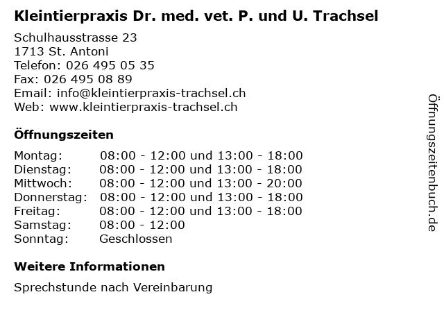 Kleintierpraxis Dr. med. vet. P. und U. Trachsel in St. Antoni: Adresse und Öffnungszeiten