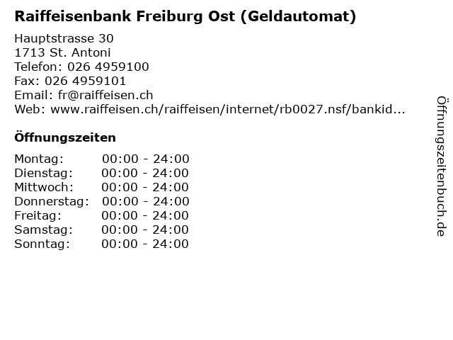Raiffeisenbank Freiburg Ost (Geldautomat) in St. Antoni: Adresse und Öffnungszeiten