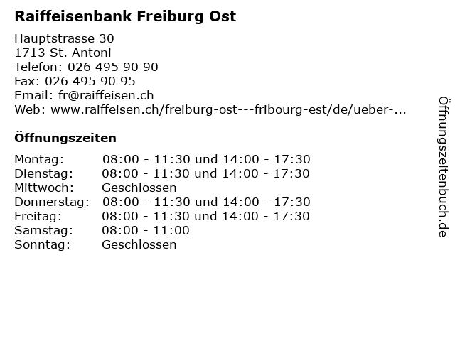 Raiffeisenbank Freiburg Ost in St. Antoni: Adresse und Öffnungszeiten