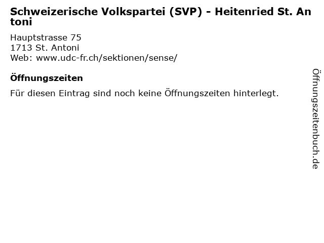 Schweizerische Volkspartei (SVP) - Heitenried St. Antoni in St. Antoni: Adresse und Öffnungszeiten
