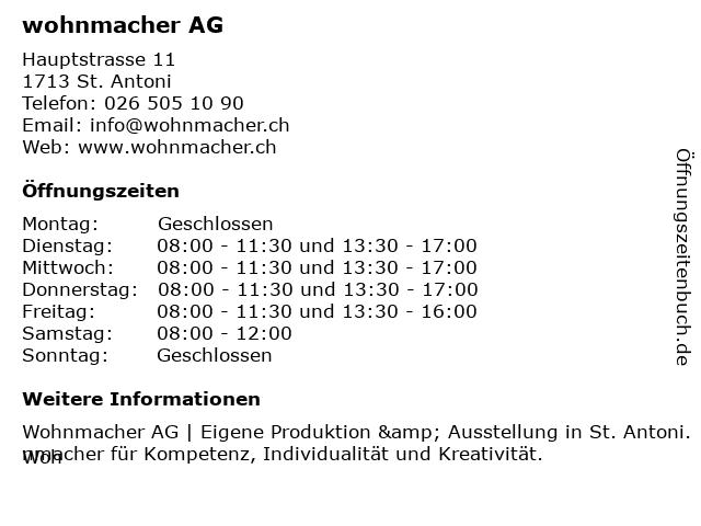wohnmacher AG - Schreinerei in St. Antoni: Adresse und Öffnungszeiten