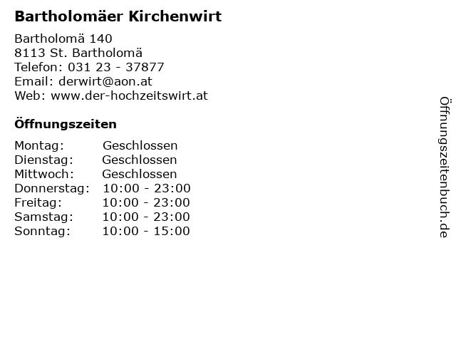 Bartholomäer Kirchenwirt in St. Bartholomä: Adresse und Öffnungszeiten