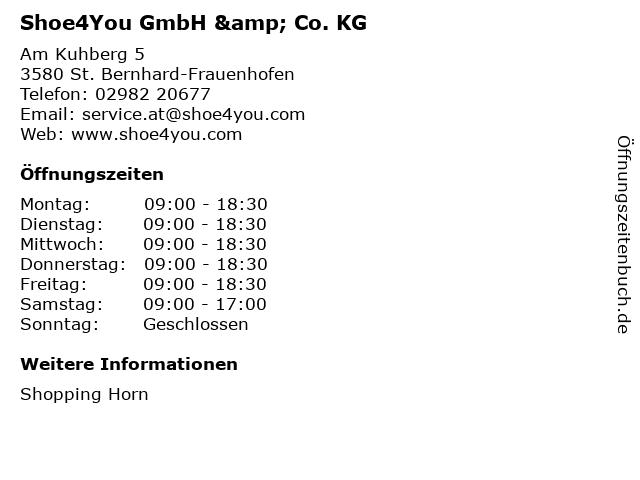 Shoe4You GmbH & Co. KG in St. Bernhard-Frauenhofen: Adresse und Öffnungszeiten