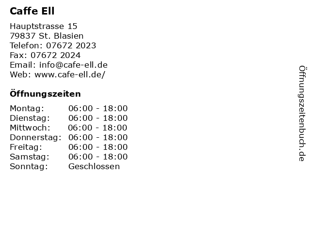 Caffe Ell in St. Blasien: Adresse und Öffnungszeiten