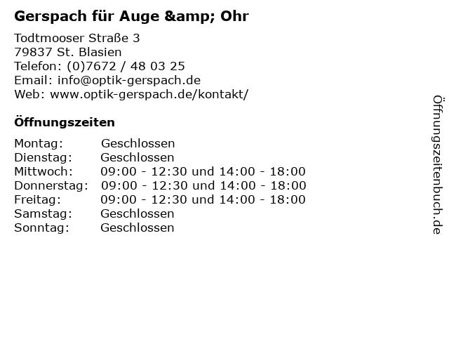 Gerspach für Auge & Ohr in St. Blasien: Adresse und Öffnungszeiten
